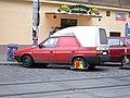 Wheel clamp on truck in Prague.JPG