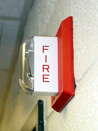 Fire alarm system - A fire alarm notification appliance that is used in the United States and Canada, a Wheelock MT-24-LSM horn/strobe.