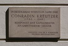 Gedenktafel für Conradin Kreutzer am Palais Starhemberg in der Dorotheergasse 9 (Quelle: Wikimedia)