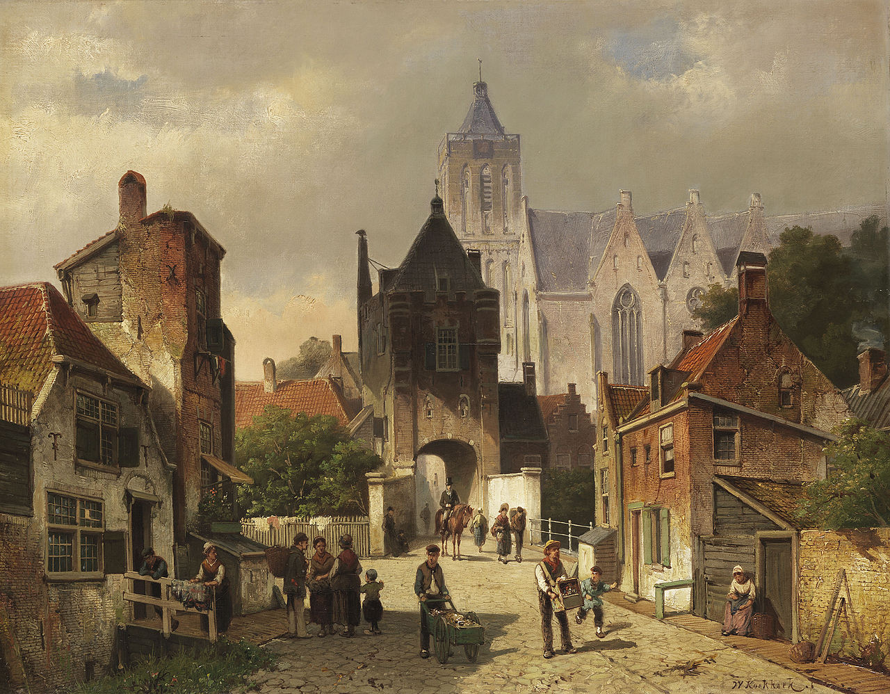 Willem Koekkoek - Nederlands Stadsgezicht (ca.1880).jpg