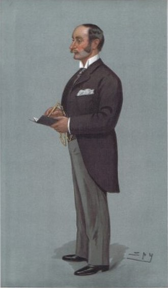 """William Hayes Fisher, 1st Baron Downham - """"Fulham"""" – Fisher as caricatured by Spy (Leslie Ward) in Vanity Fair, May 1900"""