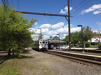 Willow Grove, Pennsylvania - A SEPTA Regional Rail train on the Warminster Line stops at the Willow Grove station