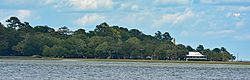 Wilmington Island as seen from Skidaway Island - Eureka Club-Farr's Point is on the right, which is on the National Register of Historic Places.