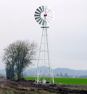 Windpump - Wind powered water pump on Oak Park Farm, Shedd, Oregon.
