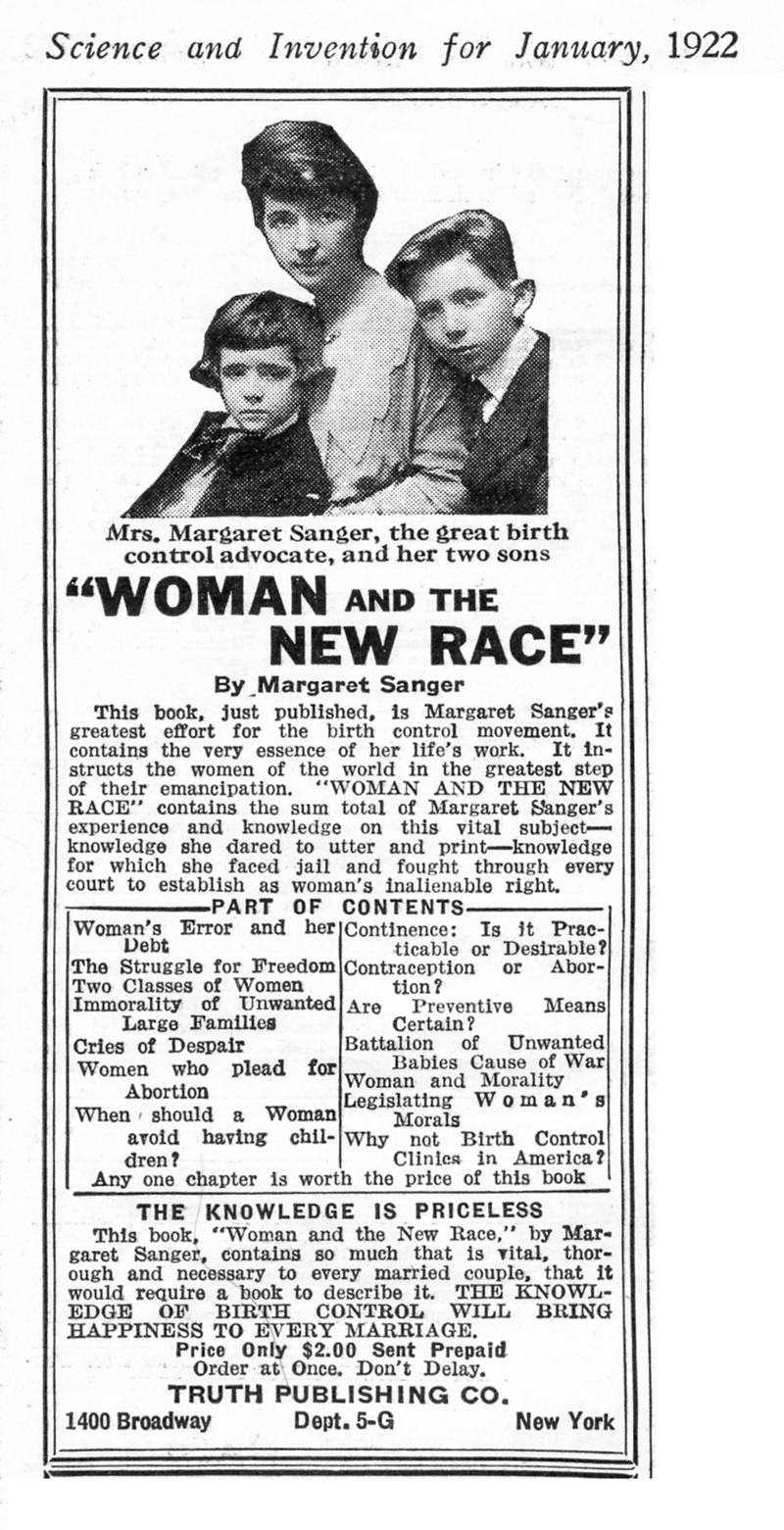 """An advertisement for a book entitled """"Woman and the New Race"""". At the top is a photo of a woman, seated affectionately with her two sons."""