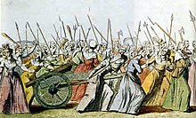 An engraving showing women armed with pikes and other weapons marching.
