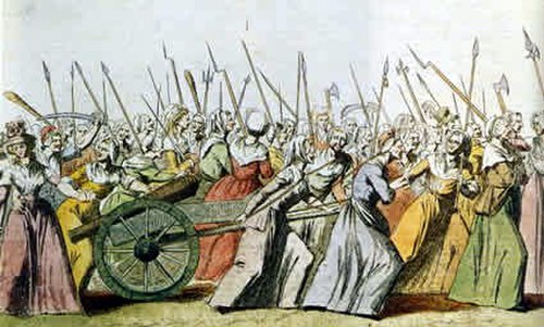 The march of the women on Versailles in October 1789, one of the most famous examples of popular political participation during the French Revolution, forced the royal court back to Paris--it would remain there until the proclamation of the First Republic in 1792 Women's March on Versailles01.jpg
