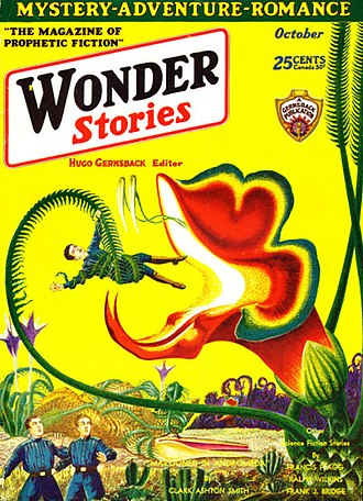 "Clark Ashton Smith - Smith's novelette ""Marooned in Andromeda"", the first entry in his ""Captain Volmar"" sequence, was the cover story in the October 1930 issue of Wonder Stories. illustrated by Frank R. Paul"