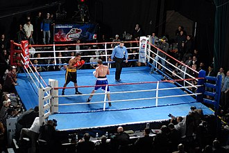 World Series of Boxing - LA Matadors vs. Moscow Dynamo in Hollywood, CA on 4 December 2011. Both amateur boxers compete without vests or head guards.