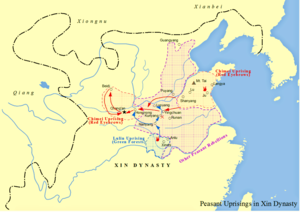Lulin - Map of peasant uprisings in Xin Dynasty, including Lulin and Red Eyebrows rebellions