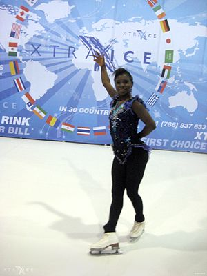 Synthetic ice - Olympic medalist figure skater Surya Bonaly on a synthetic ice surface