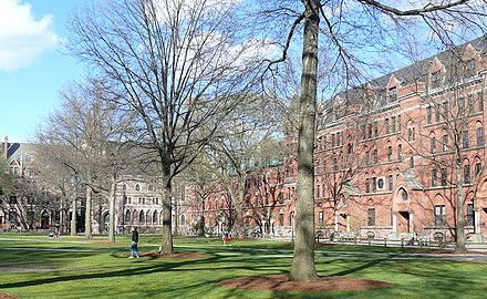 Yale's Old Campus, 2012: Durfee Hall, Battell Chapel, Farnham Hall, and Lawrence Hall Yale University Old Campus 04.JPG