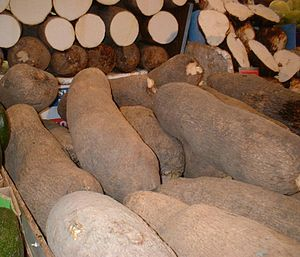 Yam production in Nigeria - Yam in a market