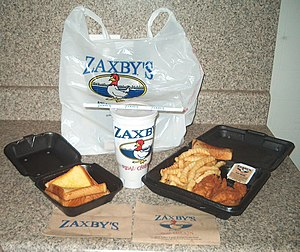 Zaxby's - Zaxby's chicken fingers, drink cup, crinkle fries, and Texas toast.