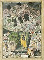 """Krishna Holds Up Mount Govardhan to Shelter the Villagers of Braj"", Folio from a Harivamsa (The Legend of Hari (Krishna)) MET 28.63.1.jpg"