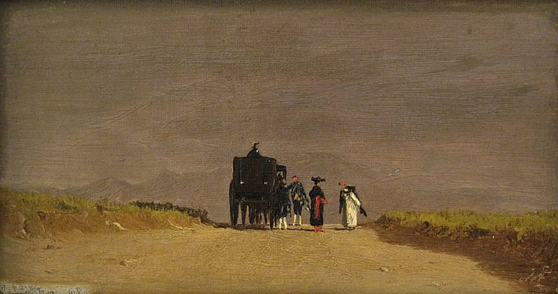 File:'Journey's Pause in the Roman Campagna', oil on canvas painting by Jervis McEntee.jpg