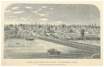 View of Victoria from James Bay in 1862. The city was incorporated that year as a result of the Fraser Canyon Gold Rush. (1862) VICTORIA FROM JAMES' BAY LOOKING UP GOVERNMENT STREET.jpg