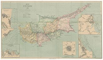 Ottoman Cyprus - Administrative map of Cyprus drawn by the British in 1878, showing the Ottoman administrative division of the island at the time of the handover