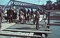 Újvidék 1940, Kikötő a Dunán, háttérben a lerombolt vasúti híd. Fortepan 92533.jpg