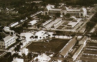 Colonial exhibition - Postcard of the Palais d'expositions at Hanoi Exhibition