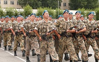 35th Guards Air Assault Brigade - Soldiers of the brigade marching in honor of the Day of the Airborne Forces on 2 August 2007 in Kapchagay