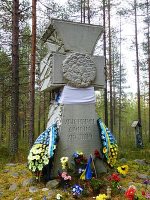 Sandarmokh -  Memorial to Ukrainians shot at Sandarmokh.