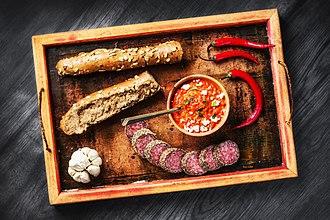 Ajvar - Ajvar with bread, garlic, pepper and salami