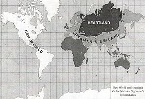 Geopolitics - World map with the concepts of Heartland and Rimland applied