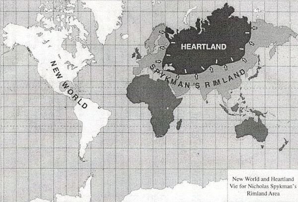 World map with the concepts of Heartland and Rimland applied Khartlend i Rimlend.jpg