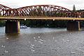 005 Pont del ferrocarril de Vyšehrad i cignes al Vltava.jpg