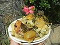 0099Nilagang repolyo, petsay Tagalog, kamote, patatas, kamatis at Pritong Dalag (Bulig) sa tanglad 37.jpg