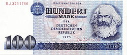 100 Mark der DDR note used in the German Democratic Republic. 100 Mark banknotes with Marx's portrait were current from 1964 until monetary union with West Germany in July 1990.