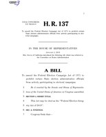 116th United States Congress H. R. 0000137 (1st session) - Federal Election Integrity Act of 2019.pdf