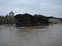 L'île du Tibre en crue, décembre 2008