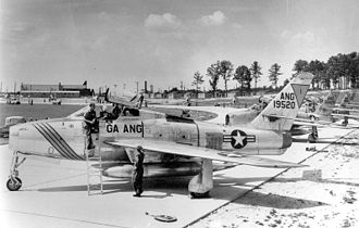 165th Airlift Wing - 158th Fighter-Interceptor Squadron F-84Fs on alert at Travis Field, 1957
