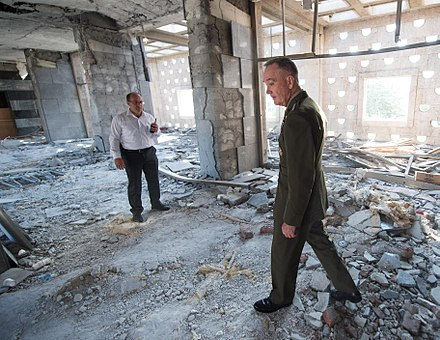 The Turkish parliament was bombed by jets during the failed coup of 2016 160801-D-PB383-016 US-General Joseph F. Dunford Jr. tours parts of the Turkish Grand National Assembly that were destroyed during the failed July 15 coup in Ankara.JPG