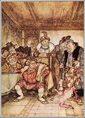 Hop-Frog - Hop-Frog, Trippetta, the king and his councilors, 1935 illustration by Arthur Rackham