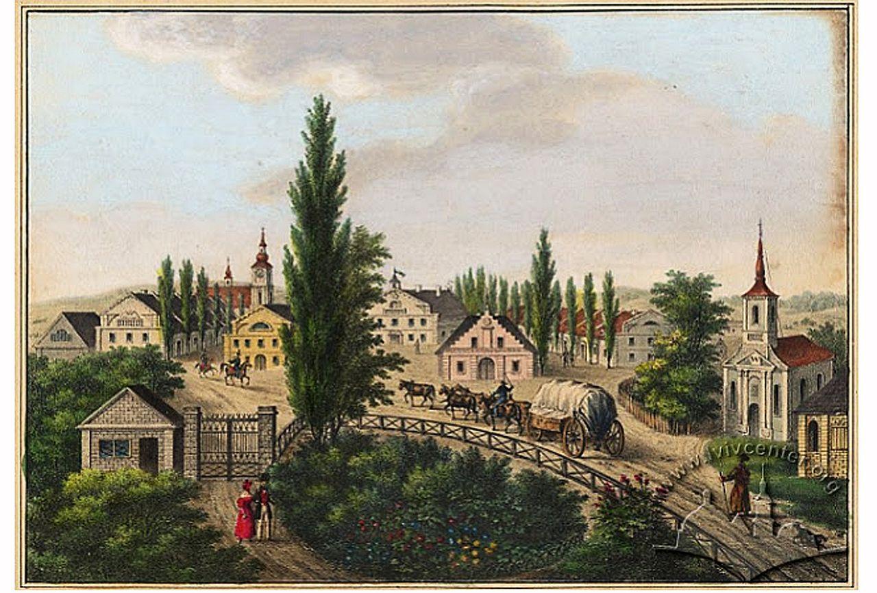 Бурштын 1837, гравюра Карла Ауэра