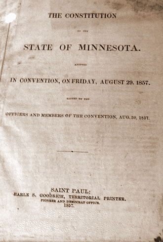 Minnesota Constitution - Cover of the first printing of the Minnesota Constitution, 1857