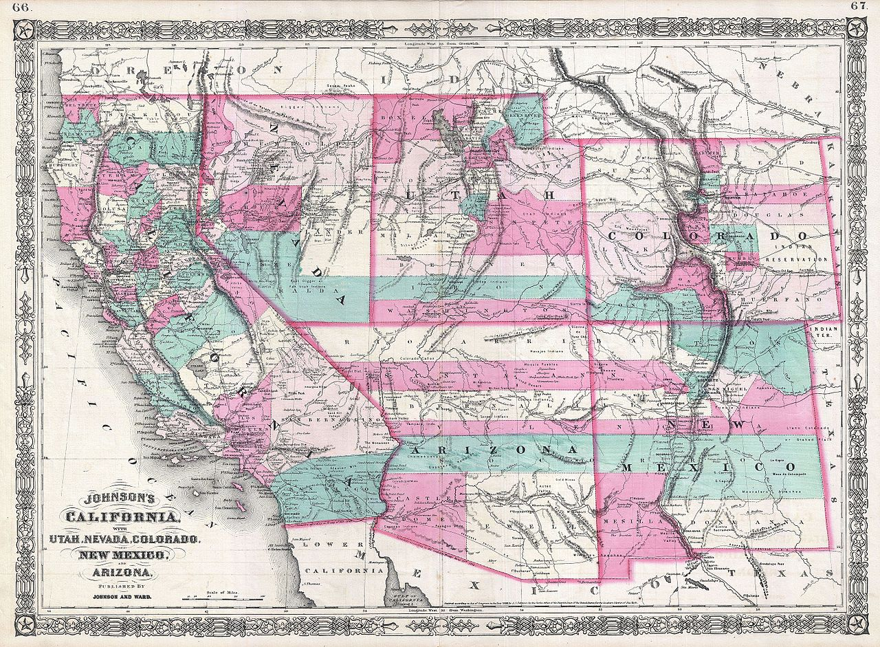 File Johnson Map Of California Colorado Arizona New Mexico - Map of california and arizona