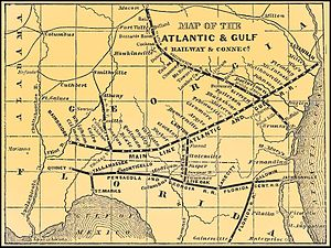 Atlantic and Gulf Railroad (1856–79) - 1870 map with connections