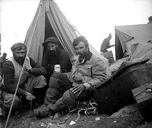 1905 Kanchenjunga expedition - Jules Jacot-Guillarmod, Charles-Adolphe Reymond and Alcesti C. Rigo De Righi (from left to right) at the base camp of Kanchenjunga Expedition