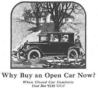 Briggs Manufacturing Company - 1923 (model) Essex coach $1245, touring $1045, cabriolet $1145