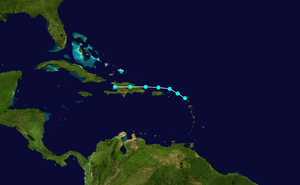 1938 Atlantic hurricane season - Image: 1938 Atlantic tropical storm 1 track