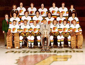 Philadelphia Firebirds - The 1976-77 Philadelphia Firebirds with the Lockhart Cup.