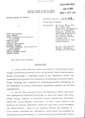 "Operation Snow White - Grand Jury Charges, Introduction, ""United States of America v. Mary Sue Hubbard"", United States District Court for the District of Columbia, 1979."