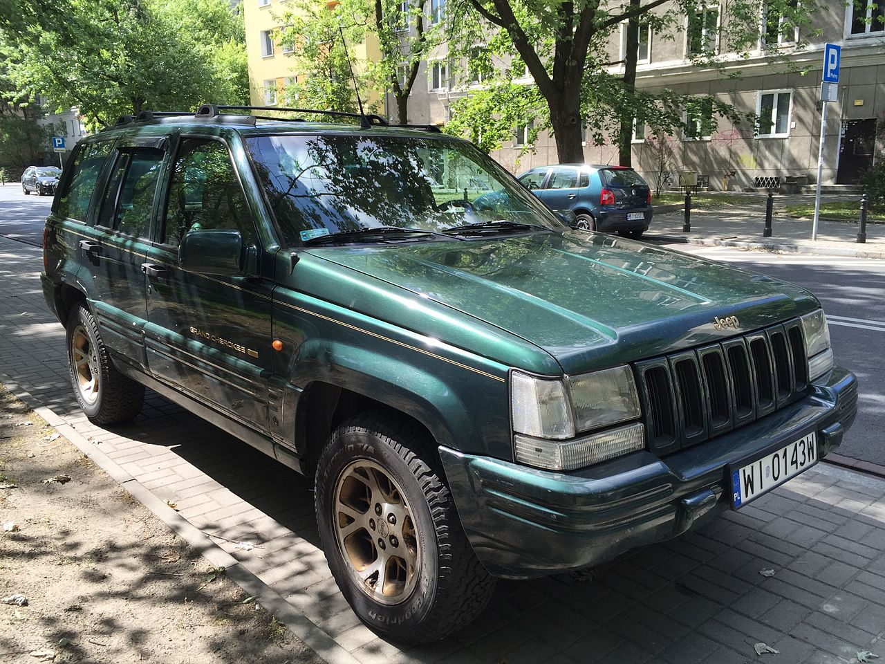 File 1996 1998 Jeep Grand Cherokee Limited Green Ulica Ludwika Zamenhofa In Warsaw Jpg Wikimedia Commons