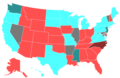 1998 United States House of Representatives Election by Change in the Majority Political Affiliation of Each State's Delegations From the Previous Election.png
