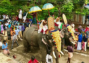1st day Onam procession elephants in Kerala.jpg