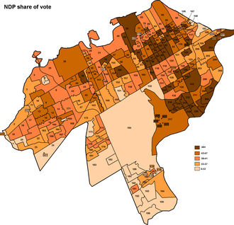 Ottawa Centre - A map showing the distribution of the NDP vote in the 2004 election. Ed Broadbent did best in Old Ottawa South and the western part of Centretown